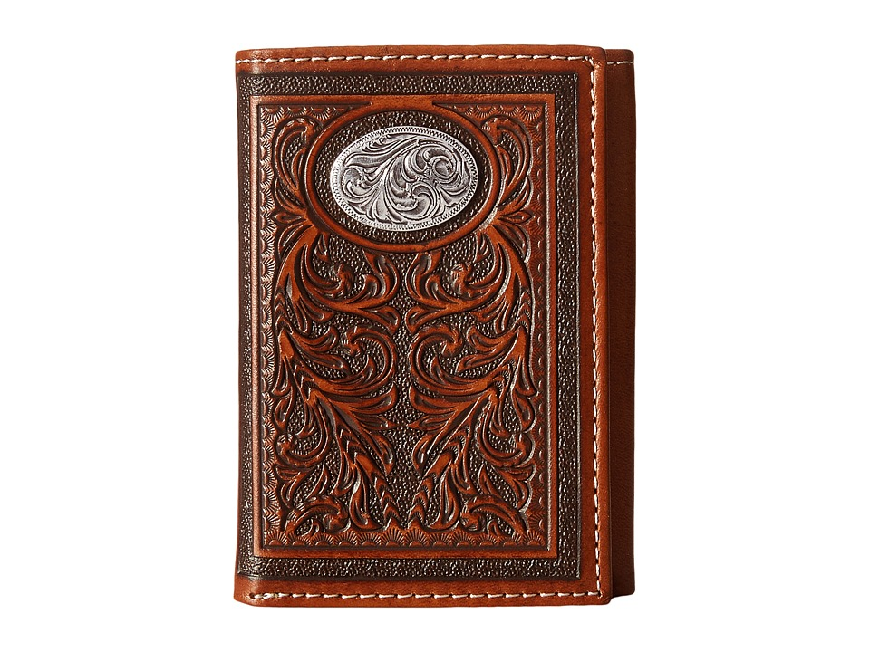 MampF Western Large Oval Concho Embossed Tri Fold Wallet Tan Wallet Handbags