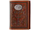 M&F Western Large Oval Concho Embossed Tri-Fold Wallet (Tan)