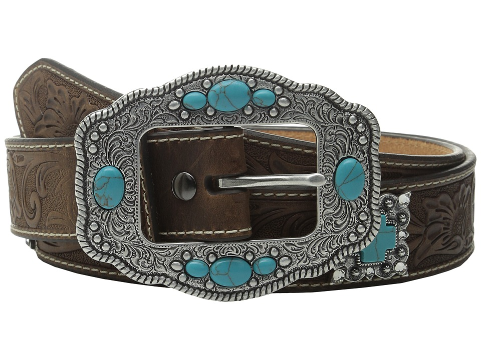 Ariat - Floral Embossed Turquoise Cross Concho Belt