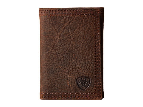 Ariat Shield Triple Stitch Trifold Wallet - Brown Oil Rowdy