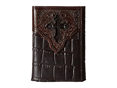 Ariat Croco Cross Embossed Trifold Wallet