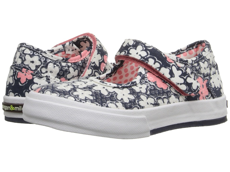MorganampMilo Kids Maddie Mary Jane Floral Toddler/Little Kid Brave Navy Floral Girls Shoes