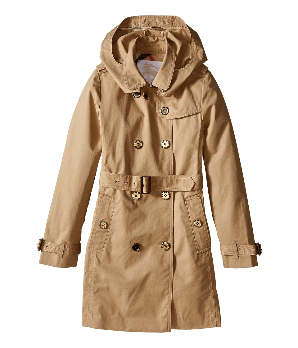 Burberry Kids Buckingham Classic Double Breasted Trench w/ Hood Little Kids/Big Kids Honey Girls Coat