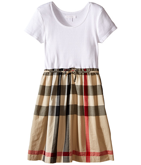 Burberry Kids Rosey Rib Jersey & Woven Mix Dress (Little Kids/Big Kids)
