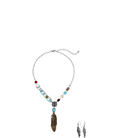 M&F Western - Feather Necklace/Earrings Set