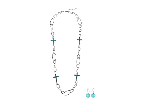 M&F Western Hammered Chain Turquoise Cross Necklace/Earrings Set - Turquoise