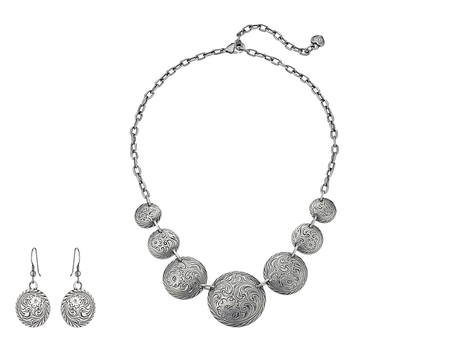 MampF Western Western Coin Necklace/Earrings Set Silver Jewelry Sets