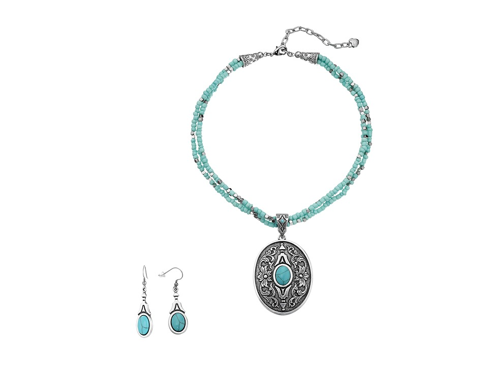 MampF Western Western Oval Turquoise Concho Charm Necklace/Earrings Set Silver/Turquoise Jewelry Sets