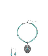 M&F Western - Western Oval Turquoise Concho Charm Necklace/Earrings Set