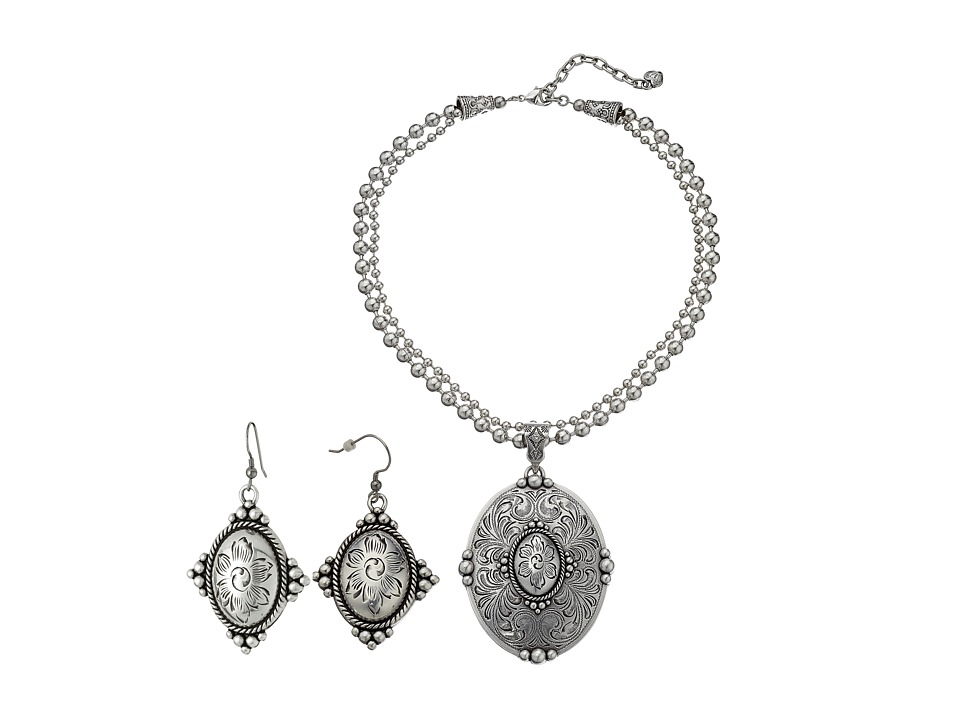 MampF Western Western Oval Concho Charm Necklace/Earrings Set Silver Jewelry Sets