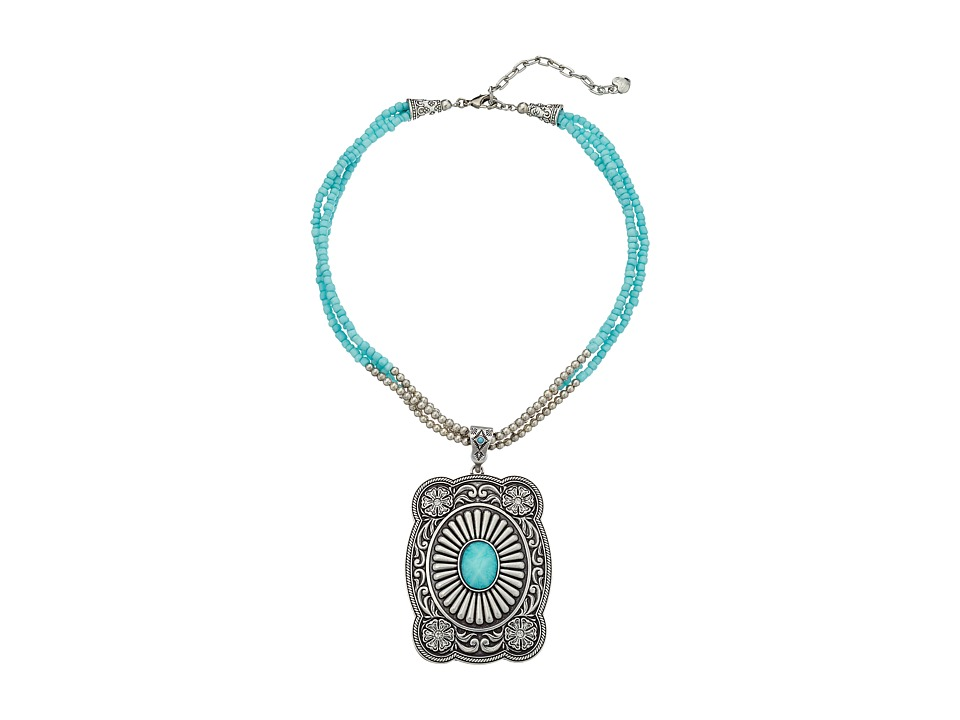 MampF Western Western Cushion Concho Charm Necklace/Earrings Set Silver/Turquoise Jewelry Sets
