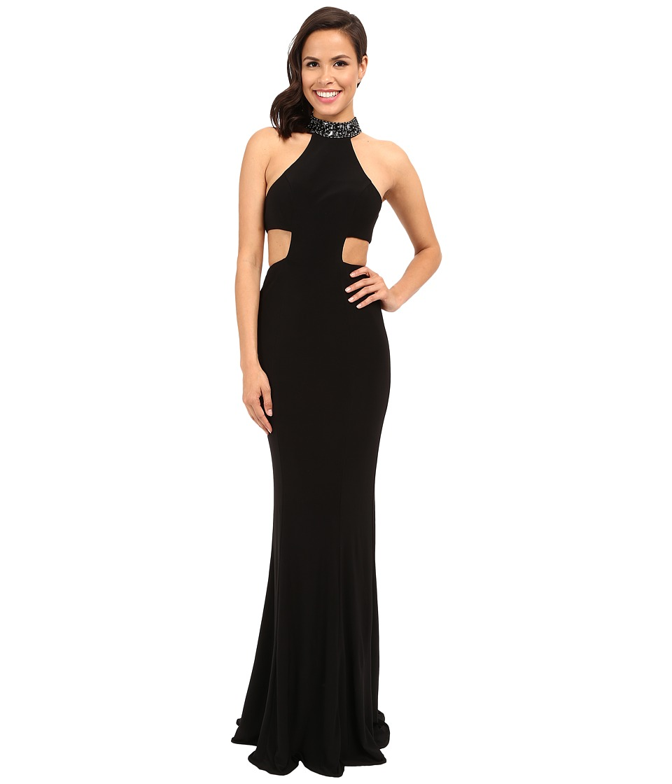 Faviana - Jersey Jewl Neck Gown w/ Back Strap Detail 7728 (Black/Gunmetal) Womens Dress