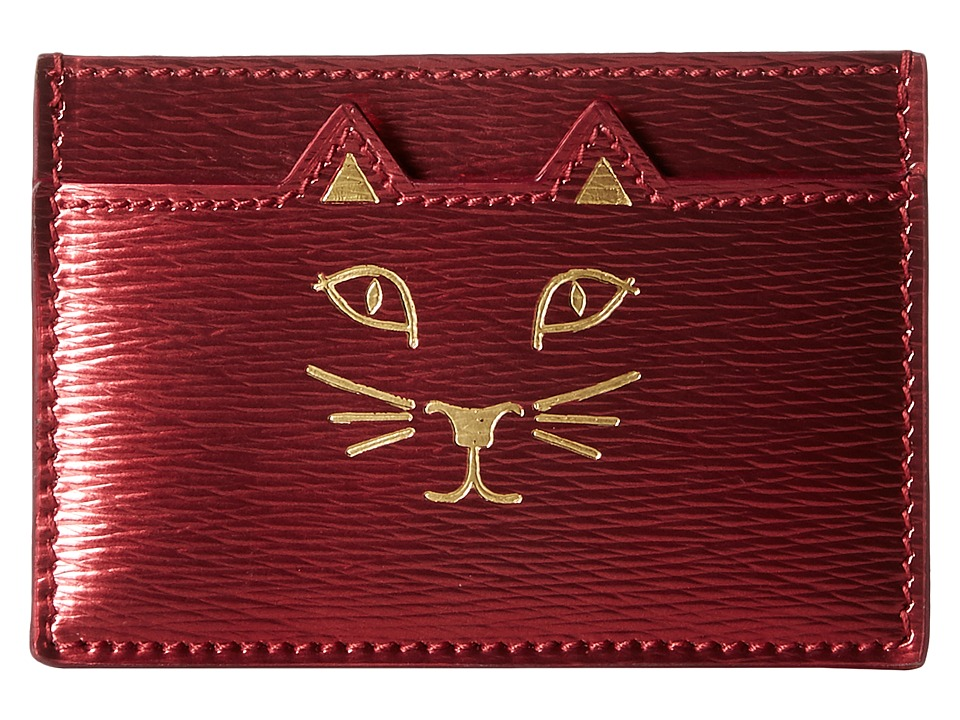 Charlotte Olympia Feline Card Holder Fuchsia Credit card Wallet