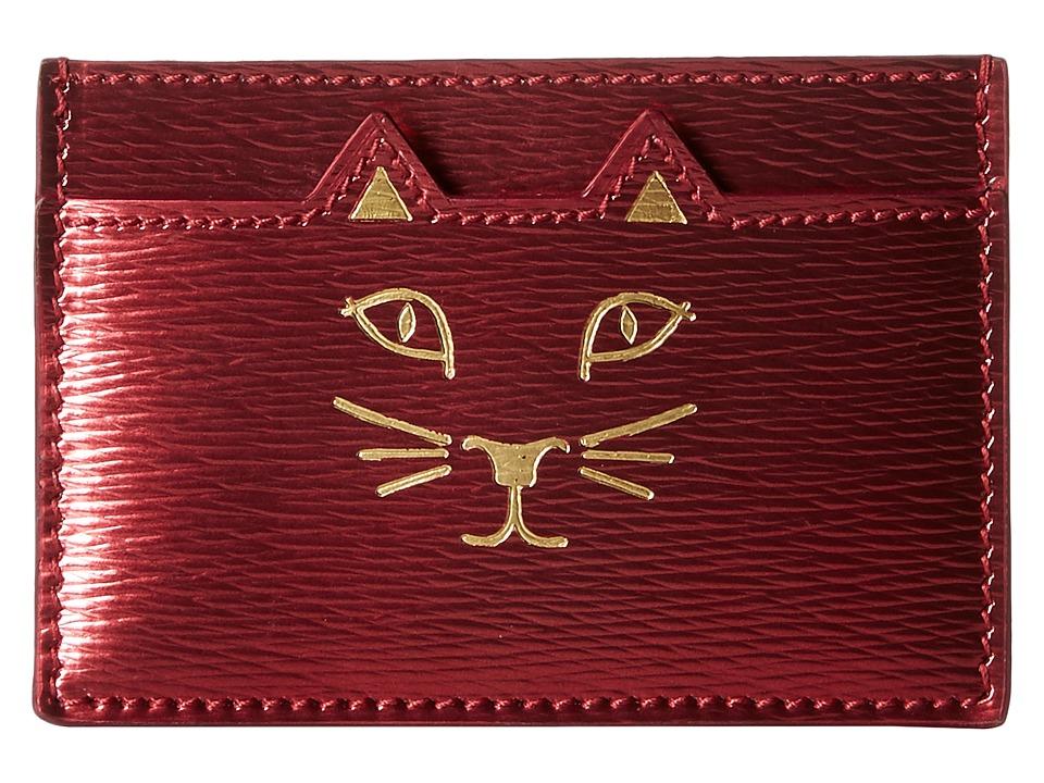 Charlotte Olympia Feline Card Holder Fuchsia Credit card Wallet
