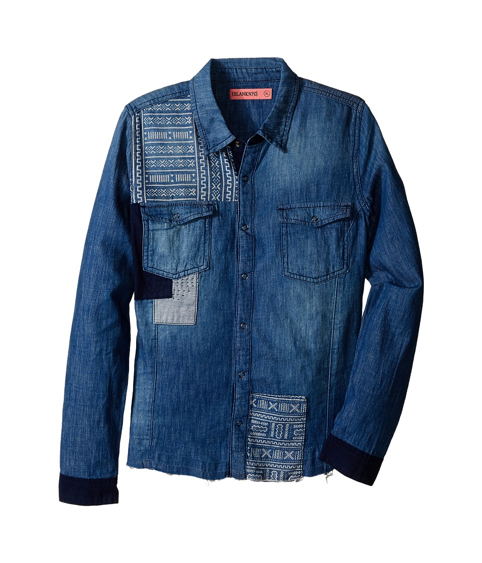 Blank NYC Kids Patterned Denim Shirt in No Free Ride Big Kids Blue Girls T Shirt