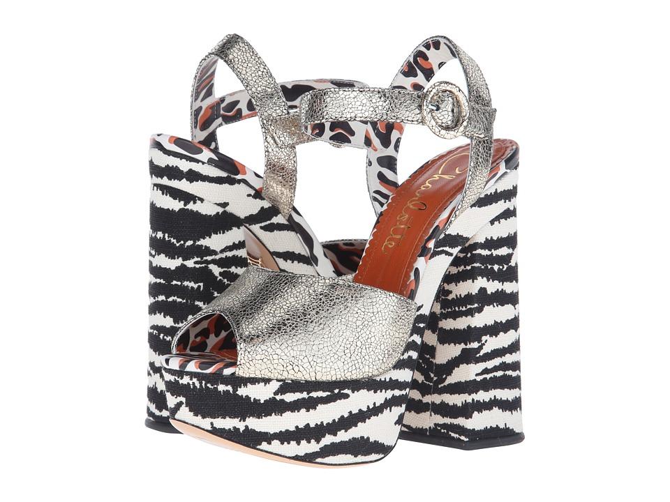Charlotte Olympia Wild at Heart Sentimental Silver/Zebra Cracked Metallic Calf/Linen High Heels