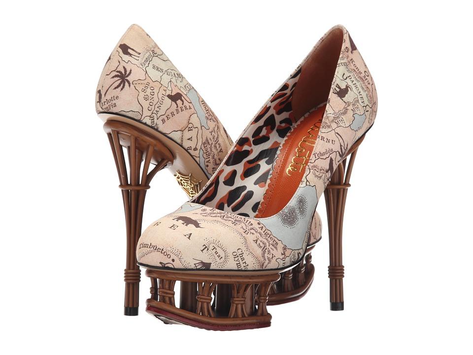 Charlotte Olympia Rattan Dolly Map Print/Tan Cotton High Heels