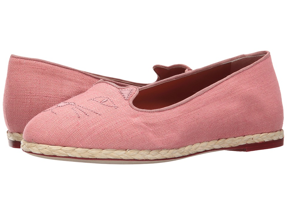 Charlotte Olympia Capri Cats Dusk Linen Womens Flat Shoes
