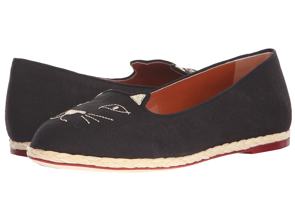 Charlotte Olympia Capri Cats Black Linen Womens Flat Shoes