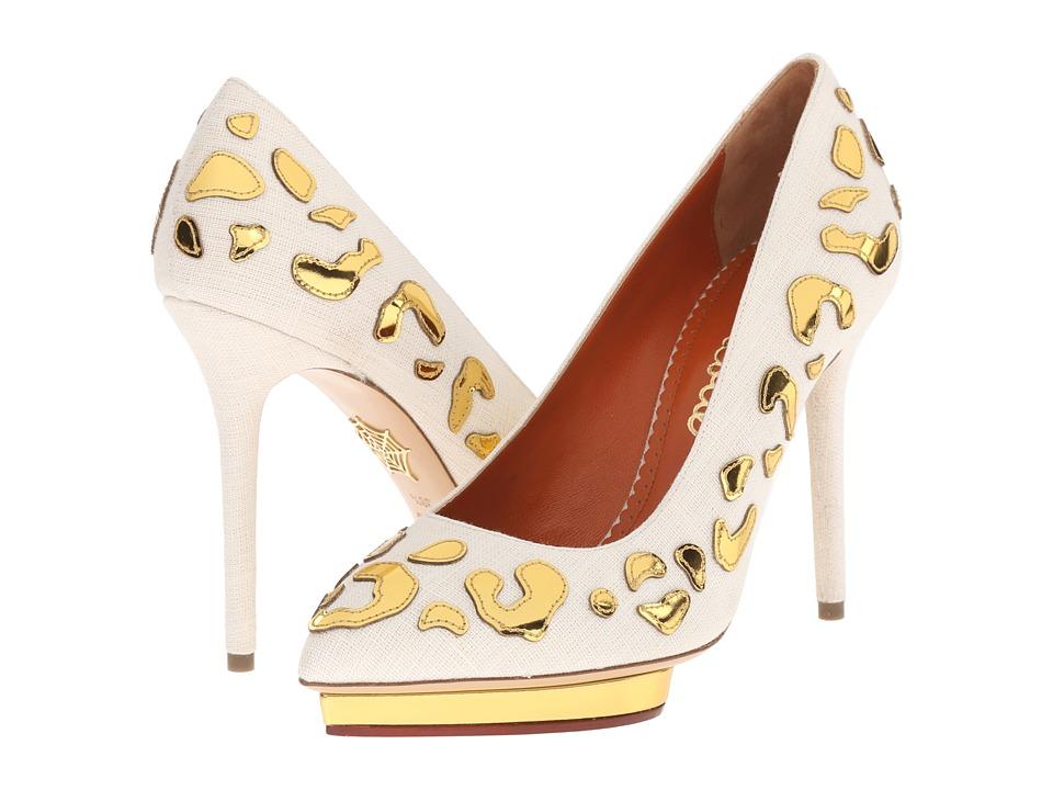Charlotte Olympia Debbie Ivory/Gold Linen/Calfskin High Heels