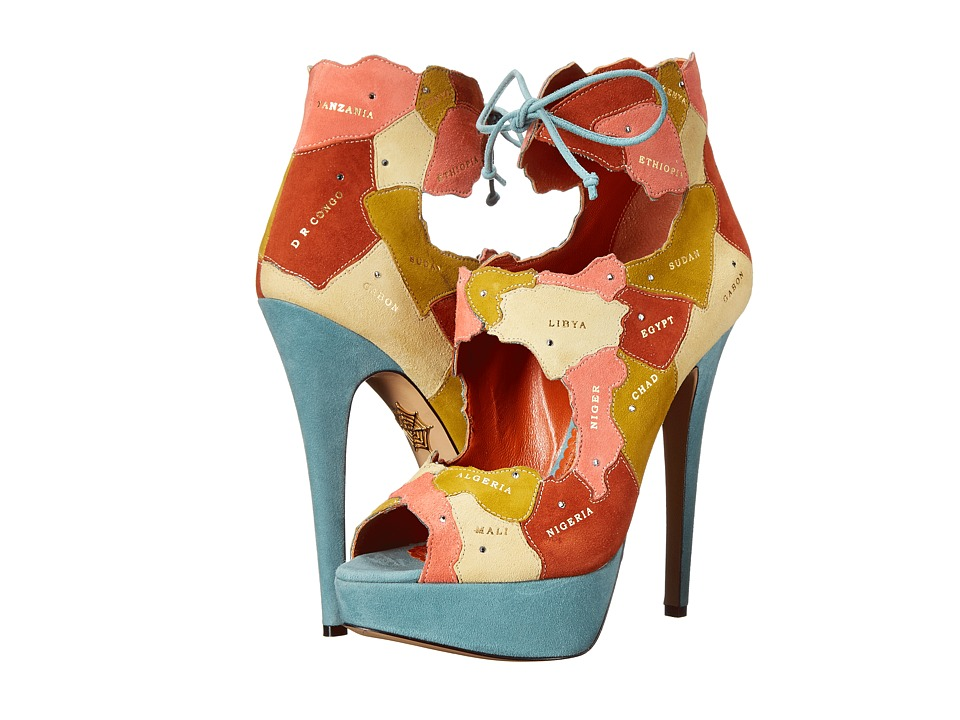 Charlotte Olympia World at Her Feet Multicolor Suede High Heels