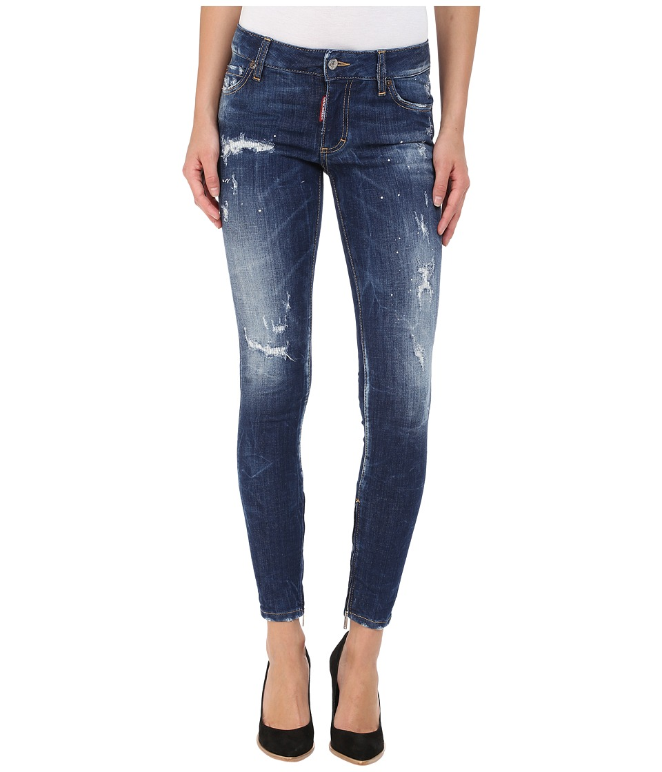 DSQUARED2 - Perfetto Wash Medium Waist Skinny Jeans in Blue (Blue) Womens Jeans
