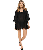 San Diego Hat Company - BST1634 Sheer Crochet V-Neck Deep V-Back Beach Tunic with Fringed Hem