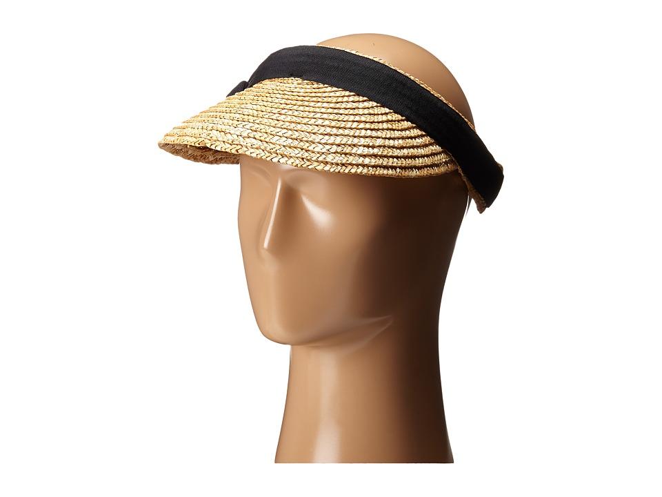 San Diego Hat Company - WSV0005 4 Inch Brim Straw Clip On Visor with Bow (Black) Casual Visor