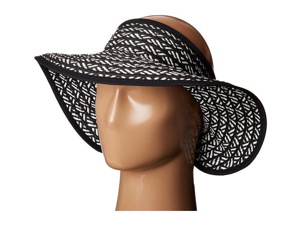 San Diego Hat Company - UBV007 Adjustable Roll Up Visor with Ribbon Edge (Black/White) Casual Visor