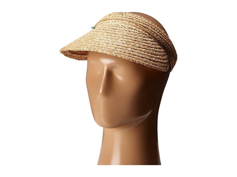 San Diego Hat Company - RHV1503 Raffia Visor with Turqoise Trim (Natural) Casual Visor