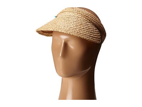 San Diego Hat Company RHV1503 Raffia Visor with Turqoise Trim - Natural