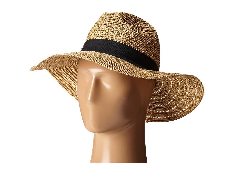 San Diego Hat Company - UBM4454 4 Inch Brim Panama Fedora Hat with Gold Lurex Specs (Natural) Caps