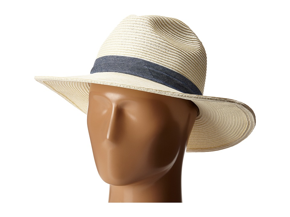 San Diego Hat Company - UBM4457 Panama Fedora Hat with Chambray Band (Ivory) Fedora Hats