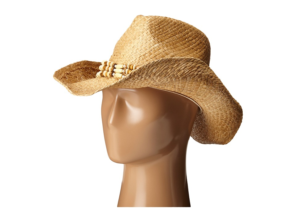 San Diego Hat Company - RHC1078 Raffia Cowboy Hat with Beaded Band (Natural) Caps