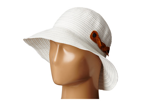San Diego Hat Company RBM5557 Ribbon Sun Hat with Braided Fauxe Suede Snap Closure - White