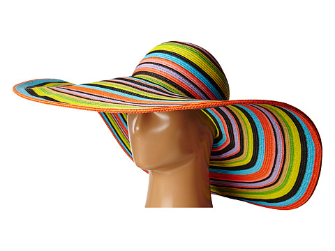 San Diego Hat Company UBX2721 Striped Floppy 8 Inch Brim Sun Hat - Multi Black
