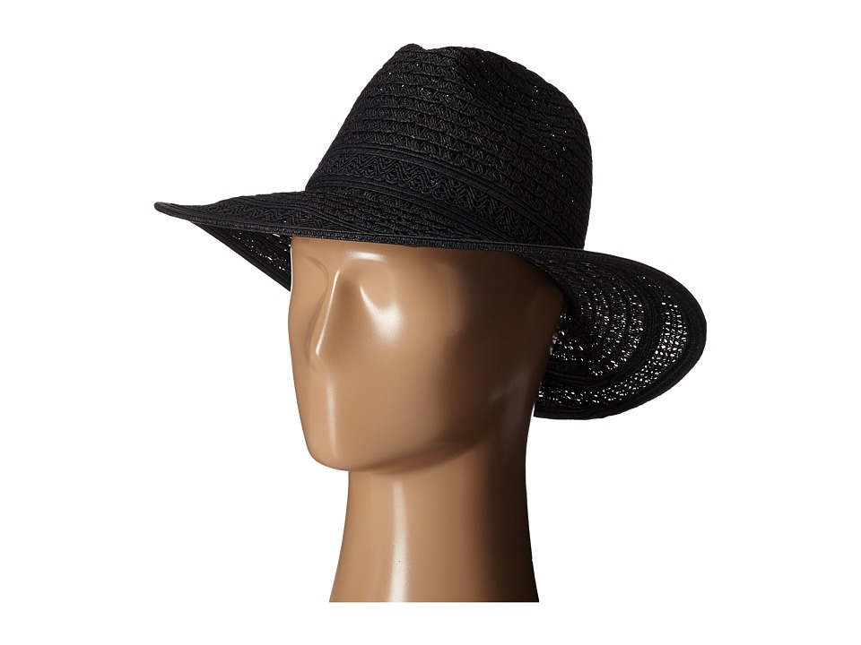 San Diego Hat Company - UBM4452 Open Weave Panama Sun Hat (Black) Caps