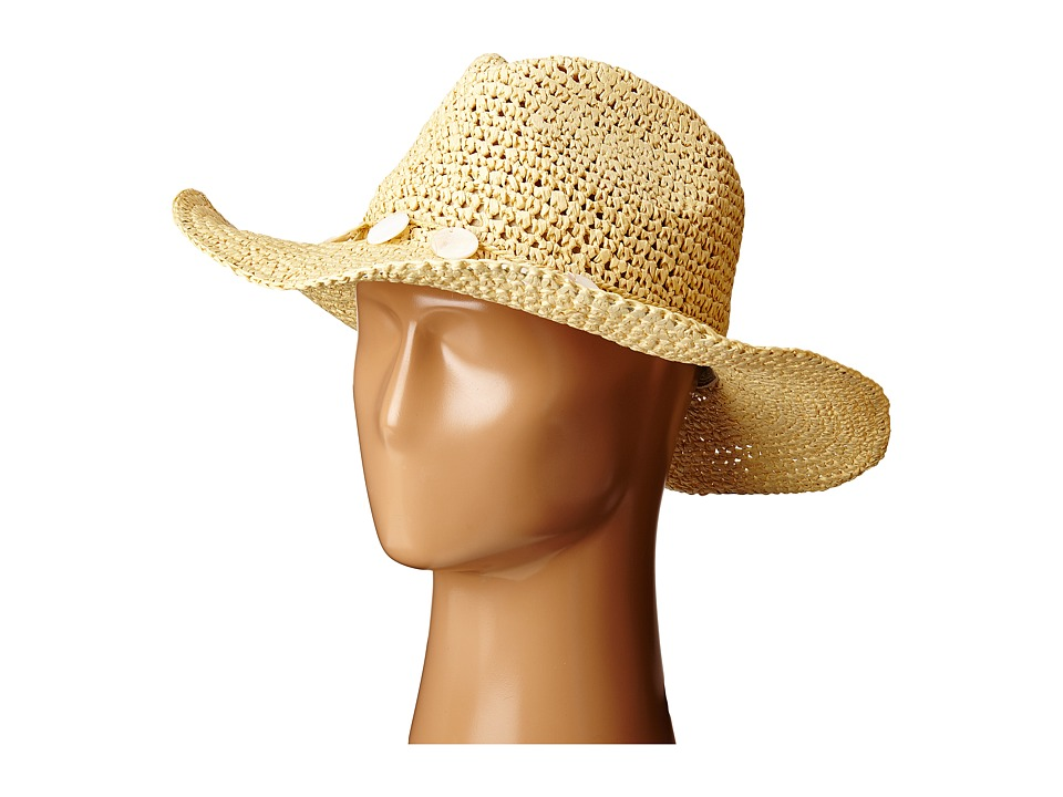 San Diego Hat Company - PBC2445 Cowboy Hat with Wired Brim and Shell Trim (Natural) Caps
