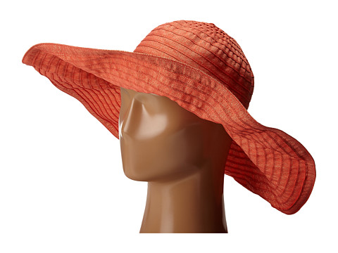 San Diego Hat Company RBXL291 6 Inch Brim Gold Shimmer Ribbon Hat with Wired Sun Brim - Coral