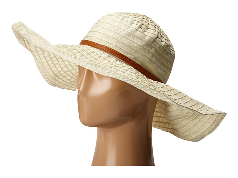 San Diego Hat Company RBXL291 6 Inch Brim Gold Shimmer Ribbon Hat with Wired Sun Brim - Ivory
