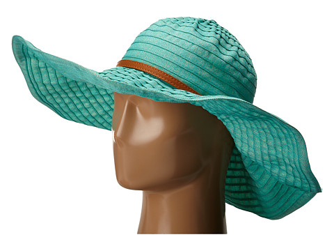 San Diego Hat Company RBXL291 6 Inch Brim Gold Shimmer Ribbon Hat with Wired Sun Brim - Teal