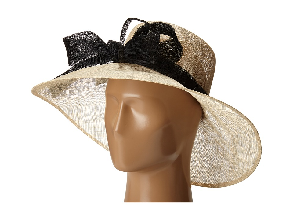 Edwardian Style Hats, Titanic Hats, Derby Hats San Diego Hat Company - DRS1003 Straw Wide Brim DressDerby Hat with Oversized Bow NaturalBlack Dress Hats $88.00 AT vintagedancer.com