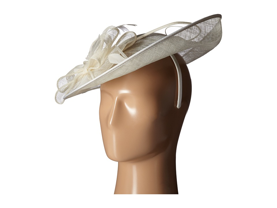 San Diego Hat Company - DRS1008 Oversized Fascinator with Double Bow and Feathers (Ivory) Dress Hats