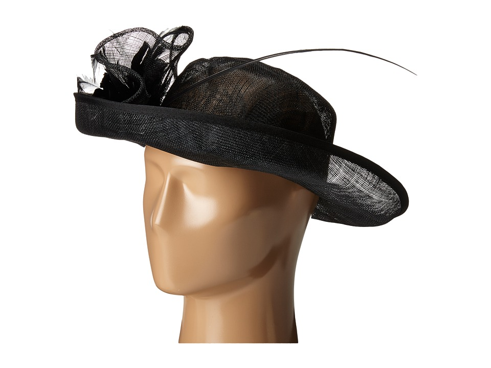 San Diego Hat Company - DRS1002 Straw Kettle Brim Dress/Derby Hat with Feathered Floral Detail (Black) Dress Hats
