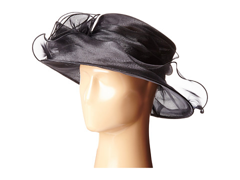 San Diego Hat Company DRS1004 Organza Dress/Derby Hat with Wired Brim and Rosette Trim - Black