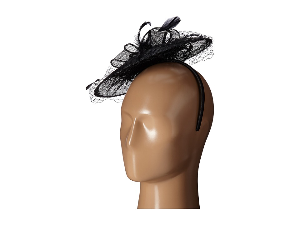 San Diego Hat Company - DRS1005 Fasinator with Veil Curled Bow Featers For Derby or Dressy Attire Black Dress Hats $52.00 AT vintagedancer.com