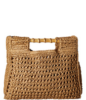 San Diego Hat Company - BSB1560 Crochet Paper Bag with Bamboo Handels and Metal Snap Closure