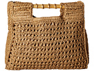 San Diego Hat Company BSB1560 Crochet Paper Bag with Bamboo Handels and Metal Snap Closure