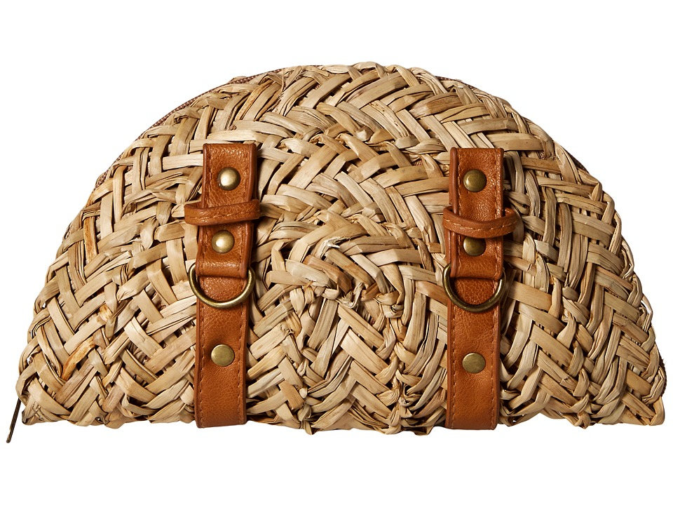 Retro Handbags, Purses, Wallets, Bags San Diego Hat Company - BSB1563 Woven Seagrass Clutch with Faux Leather Straps and Buckle Details Natural Clutch Handbags $24.00 AT vintagedancer.com