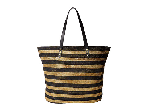 San Diego Hat Company BSB1558 Braid Gold Stripe Tote Bag with Interior Sippered Pocket - Black